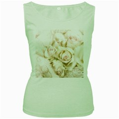 Pastel Roses Antique Vintage Women s Green Tank Top