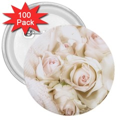 Pastel Roses Antique Vintage 3  Buttons (100 Pack)