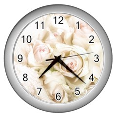 Pastel Roses Antique Vintage Wall Clocks (silver)