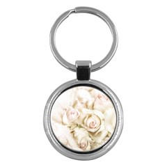 Pastel Roses Antique Vintage Key Chains (round)  by Nexatart