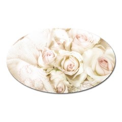 Pastel Roses Antique Vintage Oval Magnet by Nexatart