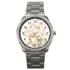 Pastel Roses Antique Vintage Sport Metal Watch by Nexatart