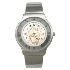 Pastel Roses Antique Vintage Stainless Steel Watch