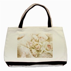Pastel Roses Antique Vintage Basic Tote Bag