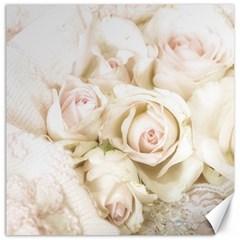 Pastel Roses Antique Vintage Canvas 12  X 12