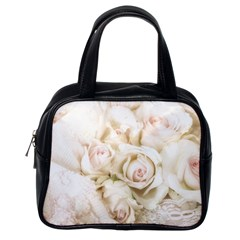 Pastel Roses Antique Vintage Classic Handbags (one Side) by Nexatart