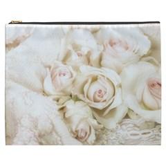 Pastel Roses Antique Vintage Cosmetic Bag (xxxl)