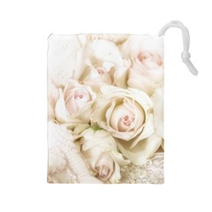 Pastel Roses Antique Vintage Drawstring Pouches (large)