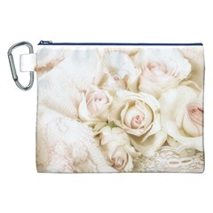 Pastel Roses Antique Vintage Canvas Cosmetic Bag (xxl) by Nexatart