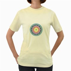 Mandala Universe Energy Om Women s Yellow T Shirt