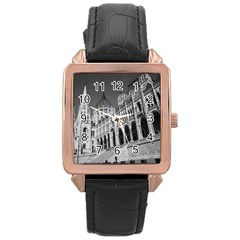 Architecture Parliament Landmark Rose Gold Leather Watch