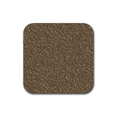Leather Texture Brown Background Rubber Square Coaster (4 Pack)  by Nexatart