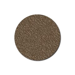 Leather Texture Brown Background Rubber Round Coaster (4 Pack)  by Nexatart