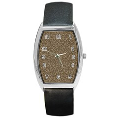 Leather Texture Brown Background Barrel Style Metal Watch