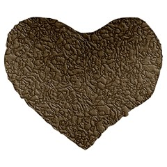 Leather Texture Brown Background Large 19  Premium Heart Shape Cushions