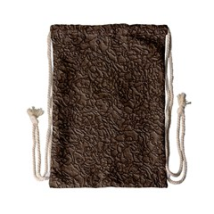 Leather Texture Brown Background Drawstring Bag (small)
