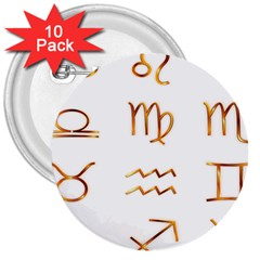 Signs Of The Zodiac Zodiac Aries 3  Buttons (10 Pack)