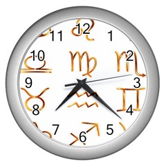 Signs Of The Zodiac Zodiac Aries Wall Clocks (silver)