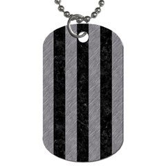 Stripes1 Black Marble & Gray Colored Pencil Dog Tag (two Sides) by trendistuff