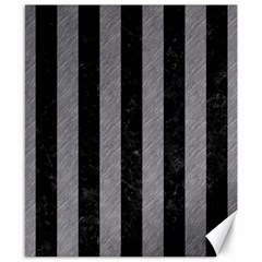 Stripes1 Black Marble & Gray Colored Pencil Canvas 8  X 10  by trendistuff