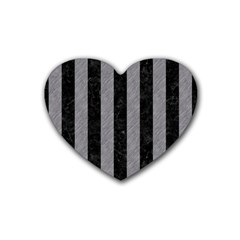 Stripes1 Black Marble & Gray Colored Pencil Rubber Coaster (heart)  by trendistuff