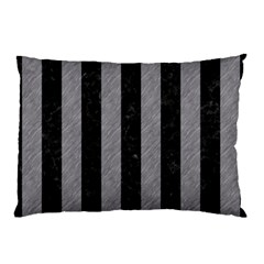 Stripes1 Black Marble & Gray Colored Pencil Pillow Case by trendistuff