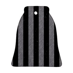 Stripes1 Black Marble & Gray Colored Pencil Bell Ornament (two Sides) by trendistuff