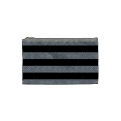 Stripes2 Black Marble & Gray Colored Pencil Cosmetic Bag (small)  by trendistuff