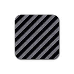 Stripes3 Black Marble & Gray Colored Pencil Rubber Square Coaster (4 Pack)  by trendistuff