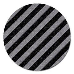 Stripes3 Black Marble & Gray Colored Pencil Magnet 5  (round)