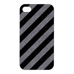 Stripes3 Black Marble & Gray Colored Pencil Apple Iphone 4/4s Premium Hardshell Case by trendistuff