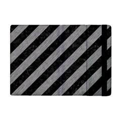 Stripes3 Black Marble & Gray Colored Pencil Apple Ipad Mini Flip Case