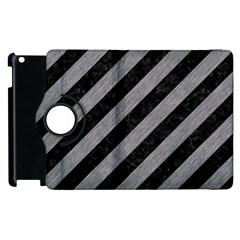 Stripes3 Black Marble & Gray Colored Pencil Apple Ipad 2 Flip 360 Case by trendistuff