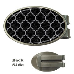 Tile1 Black Marble & Gray Colored Pencil Money Clips (oval)  by trendistuff