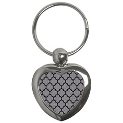Tile1 Black Marble & Gray Colored Pencil (r) Key Chains (heart)