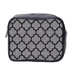 Tile1 Black Marble & Gray Colored Pencil (r) Mini Toiletries Bag 2 Side by trendistuff