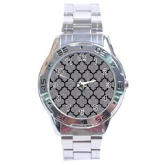 Tile1 Black Marble & Gray Colored Pencil (r) Stainless Steel Analogue Watch by trendistuff