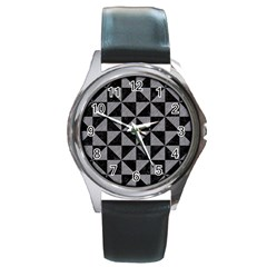 Triangle1 Black Marble & Gray Colored Pencil Round Metal Watch by trendistuff