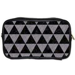 Triangle3 Black Marble & Gray Colored Pencil Toiletries Bags 2 Side by trendistuff