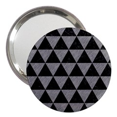 Triangle3 Black Marble & Gray Colored Pencil 3  Handbag Mirrors by trendistuff