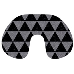 Triangle3 Black Marble & Gray Colored Pencil Travel Neck Pillows by trendistuff