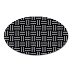 Woven1 Black Marble & Gray Colored Pencil Oval Magnet