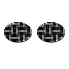 Woven1 Black Marble & Gray Colored Pencil Cufflinks (oval) by trendistuff