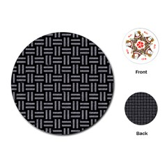 Woven1 Black Marble & Gray Colored Pencil Playing Cards (round)  by trendistuff