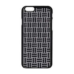 Woven1 Black Marble & Gray Colored Pencil (r) Apple Iphone 6/6s Black Enamel Case by trendistuff