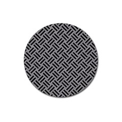 Woven2 Black Marble & Gray Colored Pencil (r) Magnet 3  (round)