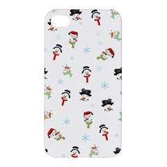 Snowman Pattern Apple Iphone 4/4s Premium Hardshell Case by Valentinaart