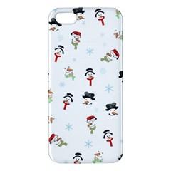 Snowman Pattern Apple Iphone 5 Premium Hardshell Case by Valentinaart