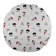 Snowman Pattern Large 18  Premium Flano Round Cushions by Valentinaart