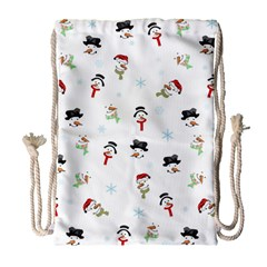 Snowman Pattern Drawstring Bag (large) by Valentinaart